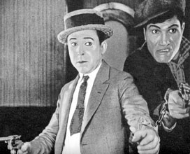 "Harry Langdon in a tight spot in ""Luck o' the Foolish"""